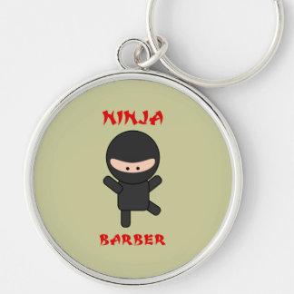 Ninja Barber Plain Silver-Colored Round Keychain