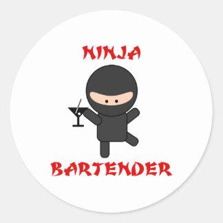 Ninja Bartender Holding Martini Classic Round Sticker