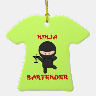 Ninja Bartender Holding Martini Double-Sided T-Shirt Ceramic Christmas Ornament