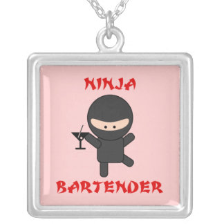 Ninja Bartender Holding Martini Silver Plated Necklace