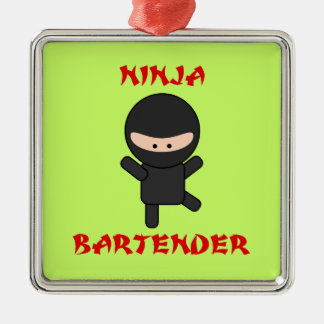 Ninja Bartender Square Metal Christmas Ornament