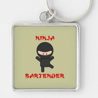 Ninja Bartender Plain Silver-Colored Square Keychain