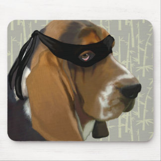 Ninja Basset Hound Dog Mouse Pad