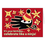 Hand shaped Ninja Birthday Card. Celebrate like a ninja Card