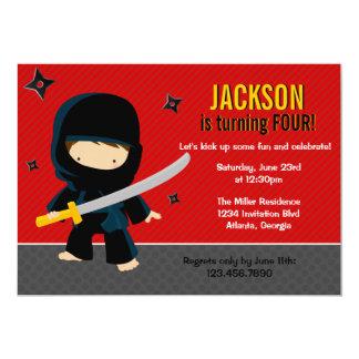 Ninja Birthday Party 5x7 Paper Invitation Card