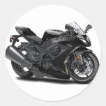 Ninja Black Bike Classic Round Sticker