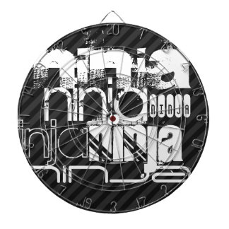 Ninja; Black & Dark Gray Stripes Dartboard With Darts