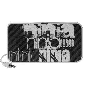 Ninja; Black & Dark Gray Stripes Travelling Speakers