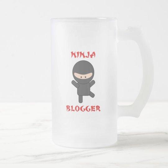 ninja blogger frosted glass beer mug