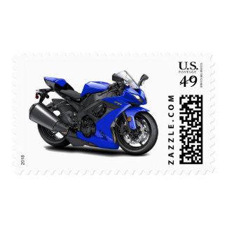 Ninja Blue Bike Postage Stamp