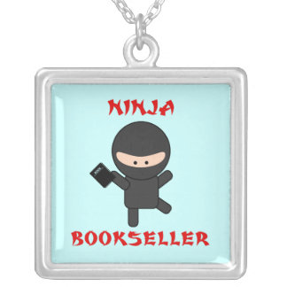 Ninja Bookseller with Book Square Pendant Necklace