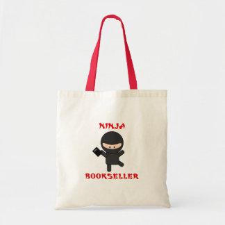 ninja bookseller with book tote bag