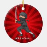 Ninja Boy  Design Ornament Round Ceramic Ornament