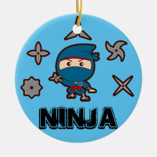 Ninja Boy Double-Sided Ceramic Round Christmas Ornament