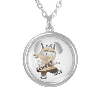Ninja Bunny Round Pendant Necklace