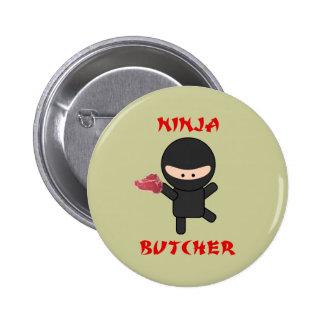 ninja butcher with steak pinback button