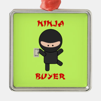 Ninja Buyer with Dollar Metal Ornament