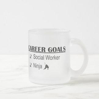 Ninja Career Goals - Social Worker Frosted Glass Coffee Mug