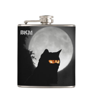 Ninja Cat at Moonrise Hip Flask