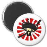 ninja cat kawaii 2 inch round magnet