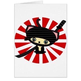 ninja cat kawaii greeting card
