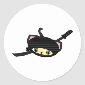 ninja cat kawaii classic round sticker