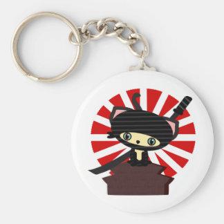 ninja cat kawaii basic round button keychain