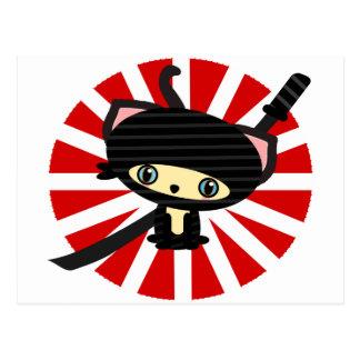ninja cat kawaii postcard