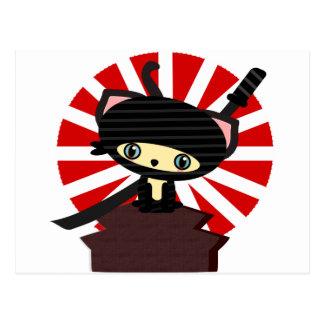 ninja cat kawaii post cards