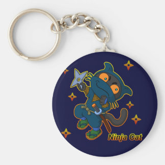 Ninja cat basic round button keychain