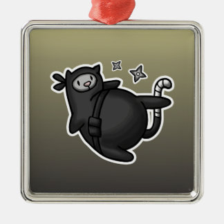 Ninja Cat Metal Ornament