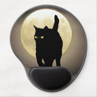 Ninja Cat Silhouette and The Full Moon Gel Mouse Pad