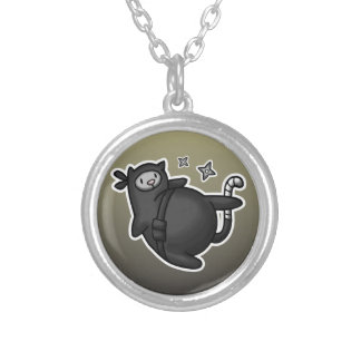 Ninja Cat Silver Plated Necklace