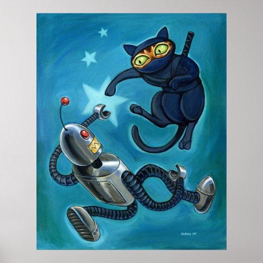 Ninja cat vs Robot Posters