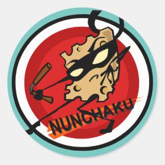 NINJA CHEESE WITH NUNCHUCKS ROUND STICKERS