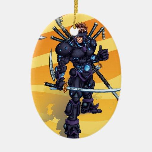 Ninja cibernético adorno navideño ovalado de cerámica