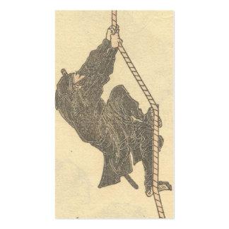 Ninja Climbing a Rope circa 1800s Business Card Templates