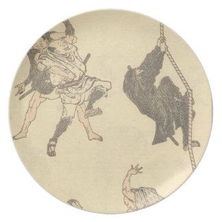 Ninja Climbing a Rope circa 1800s Japan Dinner Plate