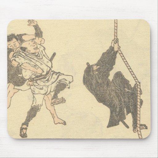 Ninja Climbing a Rope circa 1800s Japan Mouse Pad