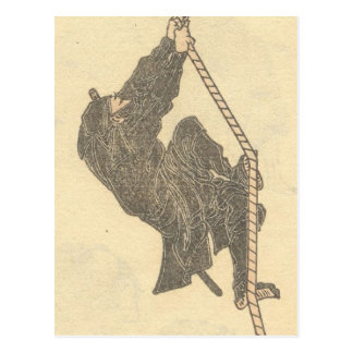 Ninja Climbing a Rope circa 1800s Japan Post Card