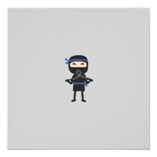 """ninja con el arma invitación 5.25"""" x 5.25"""""""