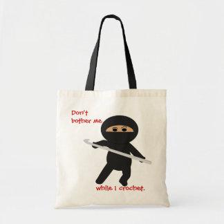 Ninja con el bolso del gancho de ganchillo bolsa tela barata