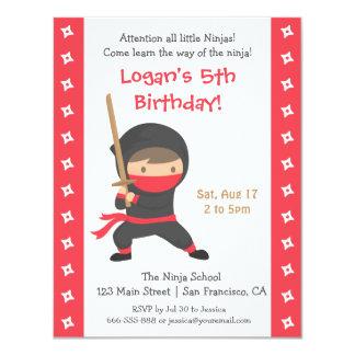 """Ninja con Katana embroma invitaciones de la fiesta Invitación 4.25"""" X 5.5"""""""