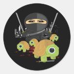 Ninja con las tortugas etiquetas redondas