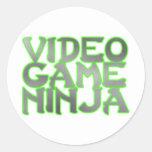 NINJA del VIDEOJUEGO (verde) Etiquetas Redondas
