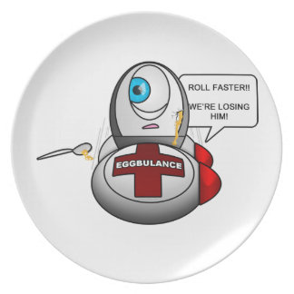 Ninja Egg on his way to Eggspital after Egg War Melamine Plate