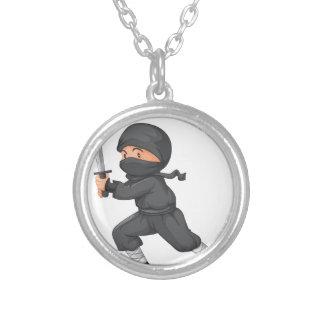 Ninja en blanco colgante redondo