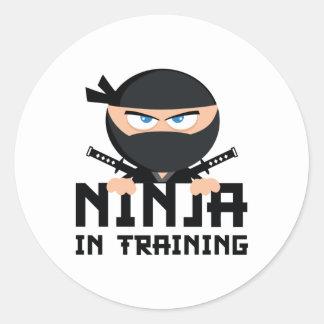 Ninja en el entrenamiento pegatina redonda