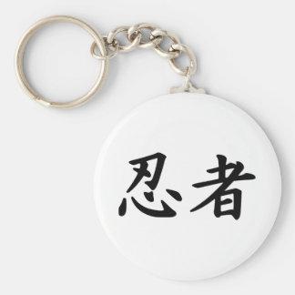 Ninja en kanji japonés llaveros