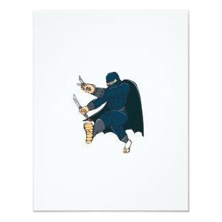 """Ninja enmascaró al guerrero que golpeaba el dibujo invitación 4.25"""" x 5.5"""""""